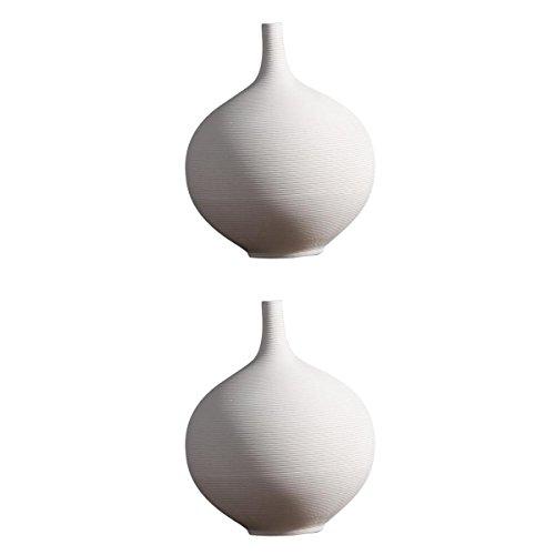 PETSOLA Weiße Keramik Vase Home Decor Ikebana Blumenvase Hochzeit Ornament Solid White - S + L (Ikebana-keramik-vasen)