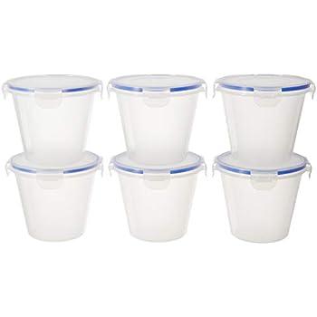 Amazon Brand - Solimo Plastic Kitchen Storage Container Set, 1 Litre, 6-Pieces, Blue