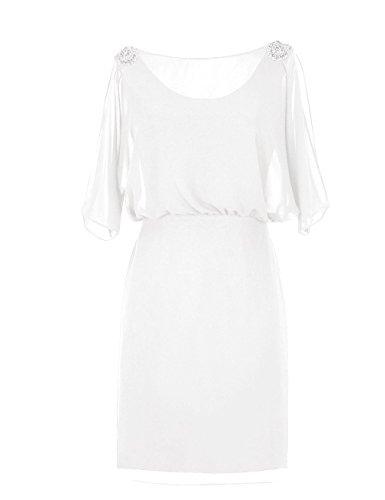 Dresstells, robe courte de demoiselle d'honneur mousseline manches courtes, robe de mère de mariée avec strass Ivoire