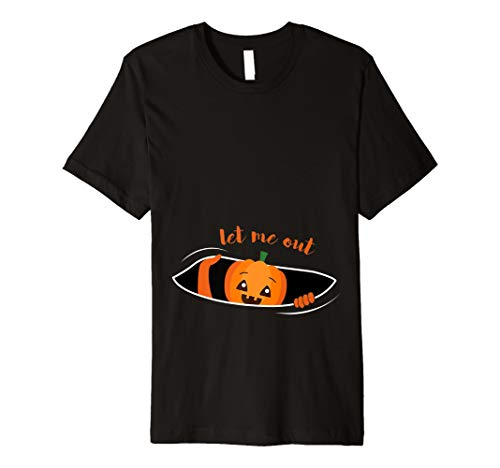 Let Me Out Funny Halloween Schwangere T-Shirt LITTLE Kürbis