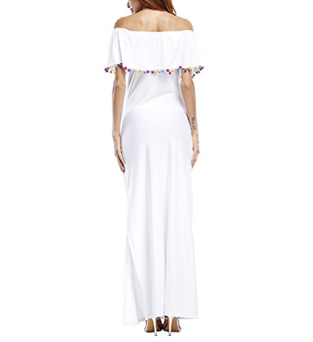 ... Vestito Senza Spalline Donna Elegante Abito con Spacco Laterale Maxi  Skater Dress Linea Ad A Abiti ... 5b0d2490b00