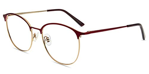 Firmoo Browline Brille Anti Blaulicht Computer Brille Blaulichtfilter Brille ohne Sehstärke für Damen/Herren, Metall Vollrandrahmen Brille Anti UV,Kratzfest,Blaulichtblockierend