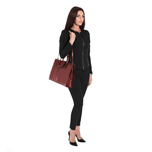 Aktentasche in italienischem Leder, Cartel, Frau Geschäfts HandBag Made in Italy 40x30x10 cm Braun