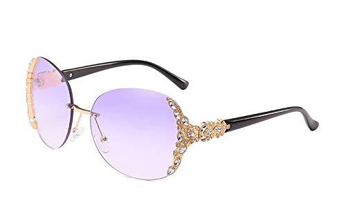 TYJMENG Sonnenbrillen Sonnenbrille Frauen Diamant Übergroßen Schild Brille Gradient Vintage Brillen Frames Randlose Glas, Gold W Lila