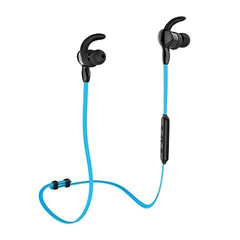 Bluetooth Kopfhörer aminy IPX7Wasserdicht Headset Bluetooth 4.1Kabellose Kopfhörer Sport Stereo-Ohrhörer Nackenbügel mit Mikrofon für Running Musik kompatibel mit iOS, Android, Smartphones und Bluetooth Geräte, blau