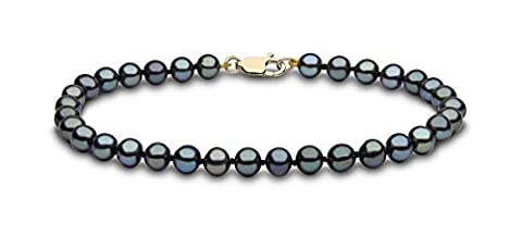 Kimura Pearls 9 ct Yellow Gold 5 mm Black Semi Round Cultured Freshwater Pearl Bracelet
