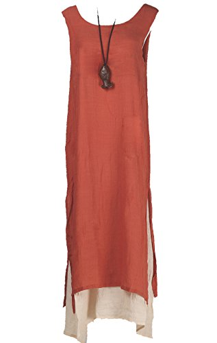 Vogstyle Damen Doppel Layered Sommer Maxi Kleid Orange - Orange-sleeveless