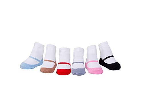 Shoe Look Socks-Anti slip Soles Gift for newborn 6 Pairs Baby Infant Toddler Girl Soft Combed Cotton