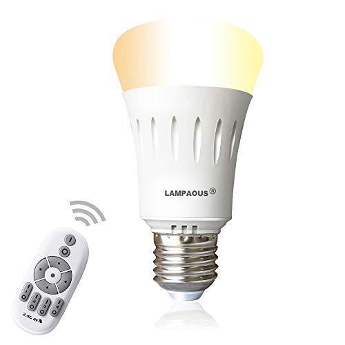 Lampaous® Dimmbar E27 LED Lampe Birne 9W, ersetzt 60W Halogenlampe 270° Intelligente Steuerbar Leuchte mit 2,4G Wifi Fernbedienung, Farbtemperatur von 2700K bis 6500K Warmweiß Weiß Kaltweiß -