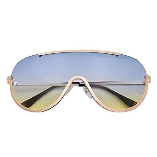 NauyGnol Oversized Shield Sonnenbrille, großer Rahmen, Legierung, sexy, coole Sonnenbrille, für Damen, goldfarben/transparent Gr. Einheitsgröße, P3