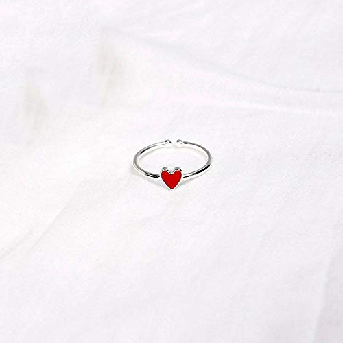 WHX DamenRingeEdelstahl, s925 Sterling Silber Ring weibliche rote Liebe fällt Nektarine Herz öffnen einzelne Ring 5.2 * 5,5 mm