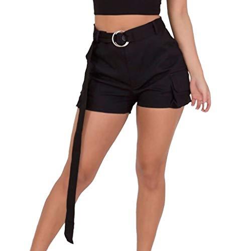 WOZOW Shorts Damen Solid Camo Muster Print Druck Gürtel Seitentasche Militärhosen Kurze Hose Cool High Waist Slim A Line Casual Mini Trousers ()