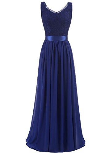 Timormode TM10168 Chiffon Kleid mit Spitzen Maxikleid Lang Brautjungfernkleid Ärmellos Royal Blau S (Satin-chiffon-kleid)
