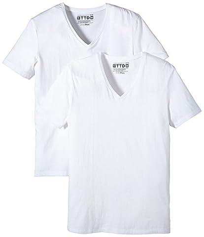 TOM TAILOR DENIM Herren T-Shirt basic v - neck doublepack, Gr. X-Large, Weiß (white 2000)