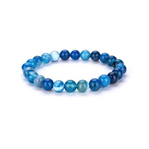 Irener Armband aus Glasperlen, Minimalist Colorful Natural Stone Beads Bracelet Chakra Gem Stone Elastic Yoga Braslet for Women Men Hand Jewelry Bileklik Blue -
