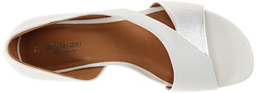 Naturalizer Jazzy Large Cuir Sandales Compensés White - Silver