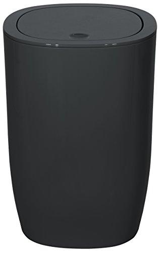 Spirella 1018248 Pure Abfalleimer Badaccessoires, Polystyrene, schwarz, 25 x 17 x 17 cm