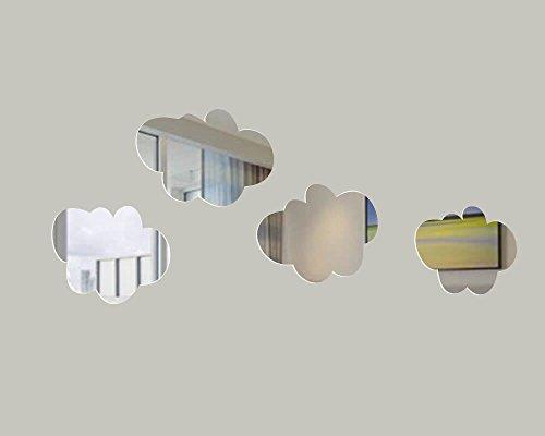 MEYA - Juego de 4 pegatinas de pared para espejo, diseño moderno, extraíble, acrílico, espejo 3D...