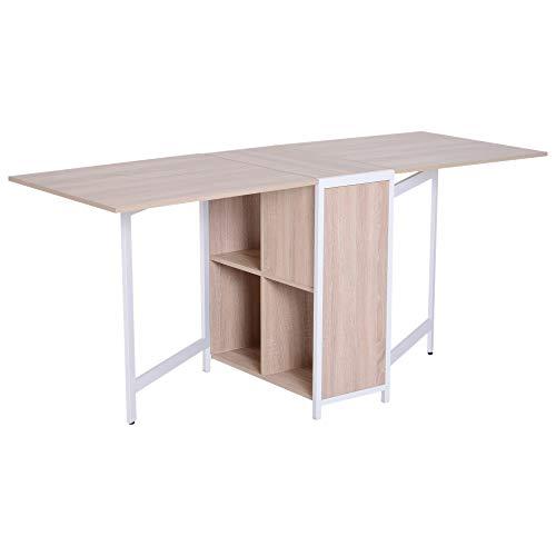 Homcom scrivania tavolino pieghevole design moderno salvaspazio legno 169.5 x 62.5 x 75cm bianco