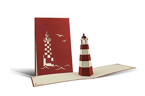 Leuchtturm Karte, Gutscheine oder Souvenir, Nord- und Ostsee, Pop-Up Karte rot