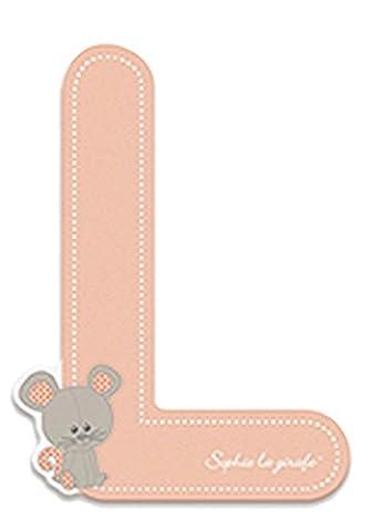 Janod Holzbuchstabe- Sofie die Giraffe Alphabet Namensbuchstaben L Kinderzimmer Deko, 5,2 x 7cm, Rosa