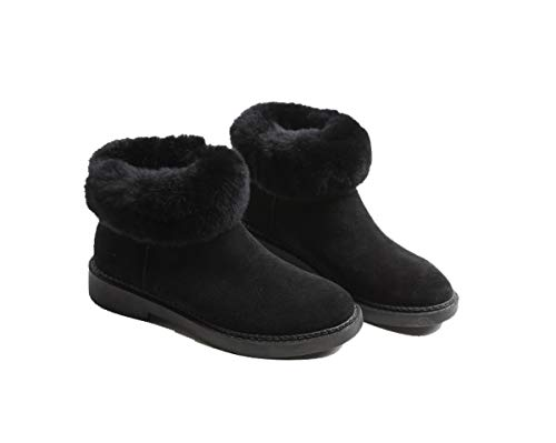 DANDANJIE Womens Ankle Boots Classic Mid-Calf Warm Martin Boots Flat Heel SGH-SGH-SGH-SGH-SGH-SGH-SGH-SGH-Scut-Rutsch-FHKW-Shoes,Black,39EU Classic Mid-boot