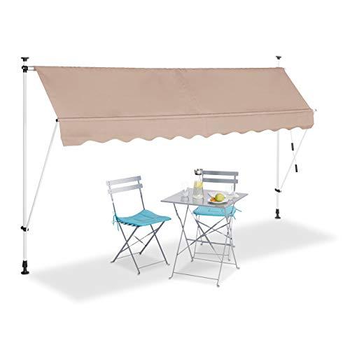 Relaxdays Tenda da Sole, Protezione per Il Balcone, Regolabile, Senza Forare, a Manovella, 300 cm di Larghezza, Beige, 300 x 120 cm