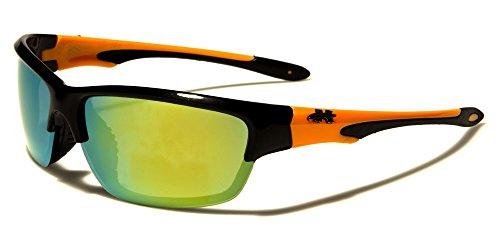 X-Loop polarisierte Sportbrille Orange Unisex Damen Herren Sport Sonnenbrille Kunststoff mit Brillenbeutel