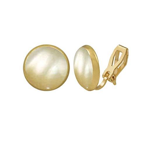 Eternal Collection Symphonie goldene Perlmutt gold Ohrstecker Clip auf Ohrringe Gold 1.35