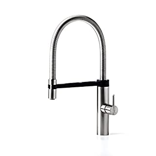 AWA - Robin – Spring – Brushed Nickel - kitchen sink single lever tap mixer – pull-out