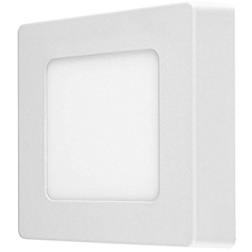 LUMIRA 6W LED Panel Quadratisch 12x12cm Aufputz-Strahler Decken-Lampe Decken-Leuchte 6 Watt Entspricht 50W Rahmenfarbe Weiß inkl. Befestigungsmaterial und Trafo 450 Lumen 3000 Kelvin Warmweiß