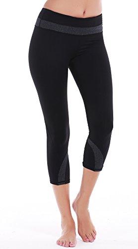DeepTwist Yoga Capri Workout Hosen Active Slim Strumpfhose Power Flex Leggings Yoga Hose Damen 3/4 mit Tasche, UK-DT4004-Dark-Grey-10 (Pant Falten Fitness Sie Über)