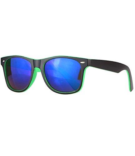 caripe Wayfarer Retro Nerd Vintage Sonnenbrille verspiegelt + getönt Damen Herren - SP-new (schwarz-grün matt - blau verspiegelt-sg)