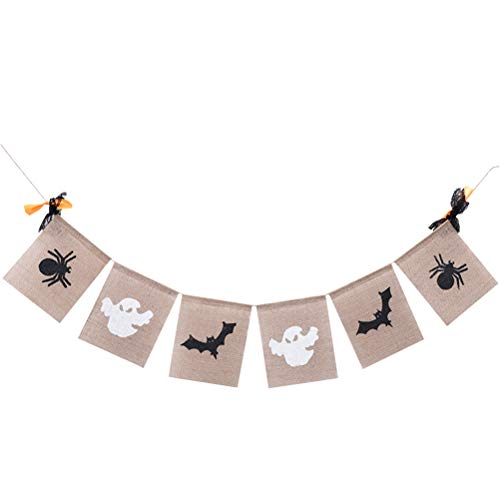BESTOYARD Halloween Garland Spinne Bat Ghost Fahnen Haloween Dekoration Banner Hängen Sackleinen Banner Party Dekorationen 2 ()