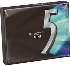 Wrigley's 5 React 2 Mint Sugar Free Gum 15 Sticks (Pack of 2) 41g