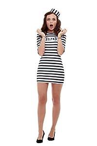 Smiffys 47787S Convict - Disfraz para mujer, color blanco y negro, talla S