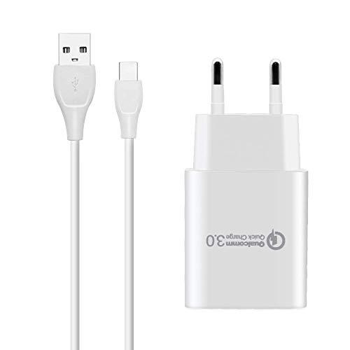 BERLS Caricabatterie Quick Charge 3.0 (Carica Rapida 3A) + Cavo USB Type C per Smartphone Samsung Galaxy S10 / S10 E/ S9 / S9 Plus / S8 / S8 Plus, Note 8 Note 9 A3 A5 A7 2017 2018, Huawei Honor, LG