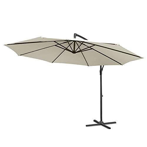 LARS360 Beige Ø350cm Aluminium Sonnenschirm Marktschirm Balkonschirm Gartenschirm Ampelschirm Kurbelschirm Gartenschirm UV40+ Schutz (Beige ohne Solar LED)