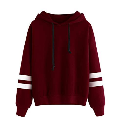 VJGOAL Damen Sweatshirts, Damen Mädchen Mode Sport Langarm Hoodie Herbstliche Winter Bluse Jumper Mit Kapuze Pullover Tops (Wein, 42)