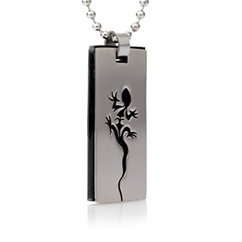 Stainless Steel Gecko Lizard Dog Tag Pendant Motif Black and Stainless Steel Chain–SLP Gecko