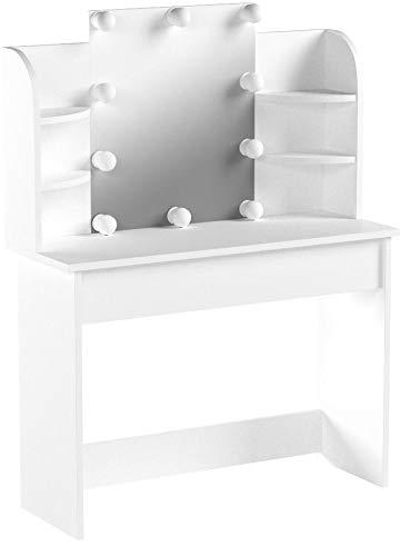 Vicco Schminktisch Charlotte 142 x 108 cm Weiß mit LED - Frisiertisch Kommode Spiegel LED-Beleuchtung +++ Schminkkommode mit Schubfach- und Regalsystem +++ (Weiß)