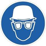 Aufkleber Piktogramm Augenschutz und Kopfschutz Folie 2cm Ø 10 Piktogramme/Bogen