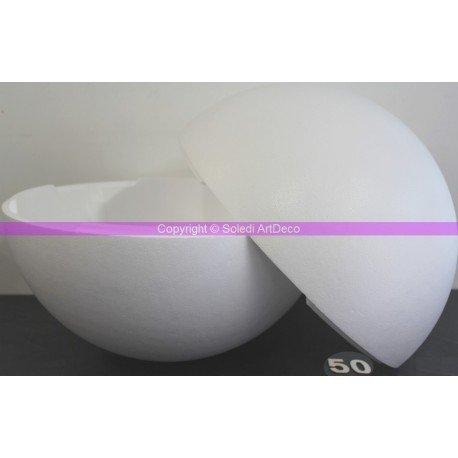 Lealoo® Grande Boule Polystyrène Styropor Séparable, Ø 50 cm/500 mm, Sphère Sécable en Styropor Blanc densité Pro