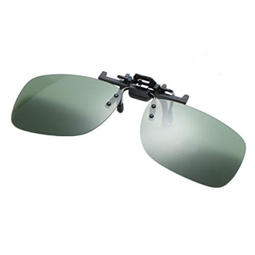 Inlefen Polarisierte Sonnenbrille Aufsteckbare Sonnenbrille mit Flip-Cap-Funktion Blendfreie UV 400-Schutzbrille Aufsteckbare Korrekturbrille(Dunkelgrün)