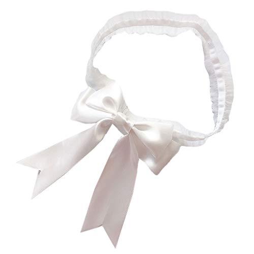 Haptian Frauen Braut Einfarbig Spitze Elastische Oberschenkel Ringe Großes Band Bowknot Hochzeitskleid Bein Strumpf Cosplay Unterwäsche Arm Armband(Weiß-1Stück) - 19-zoll-strumpf
