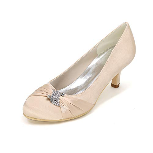 Flower-ager 1195-22 womens da sposa da donna prom shoes mid-heel sandali da damigella d'onore sandali size,champagne,eu38
