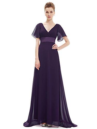 Ever Pretty Damen V-Ausschnitt Lange mit Schleppe Abendkleider Festkleider 09890 Violett