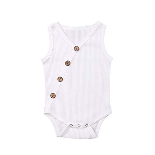 chen Strampler Kleinkind Einfarbig Button Overall Neugeborenes Streifen Jumpsuit ()