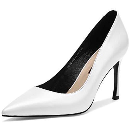 ZPFME Gericht Schuhe Damen High Heel Damen Neue High Heel Slip auf Kleid Stiletto Arbeit Spitz,White-EU35/225 T-strap Dorsay Pump