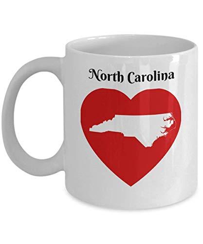 North Carolina Coffee Mug Gift - Heart NC State Outline Map Mug Souvenir